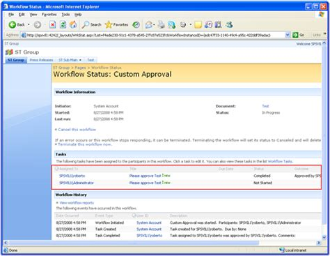 sharepoint workflow status sharepoint creating custom workflow to approve page or