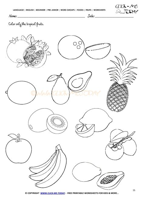 worksheets for preschool fruits fruits worksheet 15 color only the tropical fruits