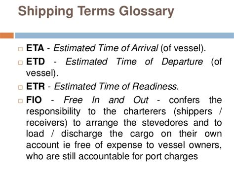 for shipping terms glossary of shipping terms