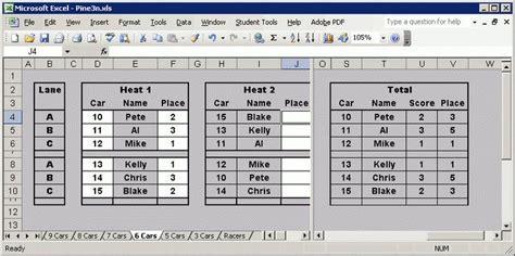 Pinewood Derby Race Spreadsheet by Score Keeping Spreadsheets For Pinewood Derby Races 3