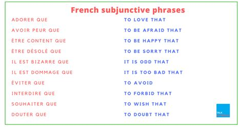 using french vocabulary french subjunctive phrases list of words and expressions