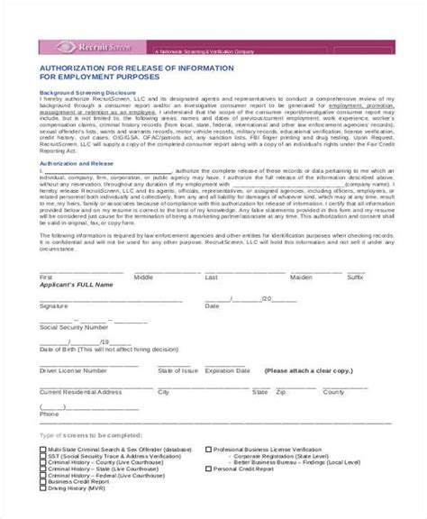 employment release form template authorization form templates