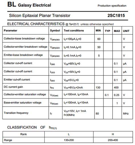 Sc1815 Sc 1815 2sc1815 C1815 General Purpose Transistor Murah 2sc1815 datasheet pdf datasheetbank