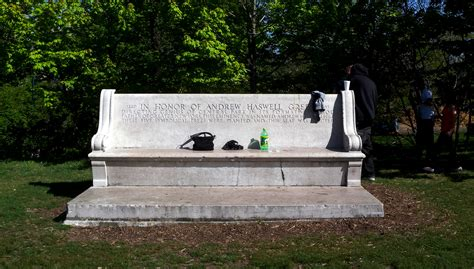 the green bench celebrating 200 years of life on the grid landmark west