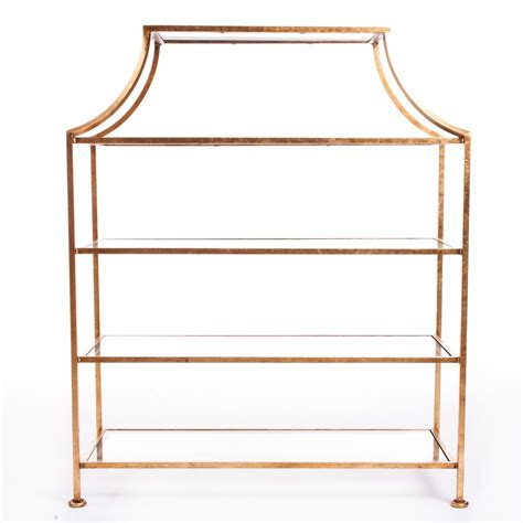 etagere gold gold pagoda etagere table w glass shelves decor nyc store