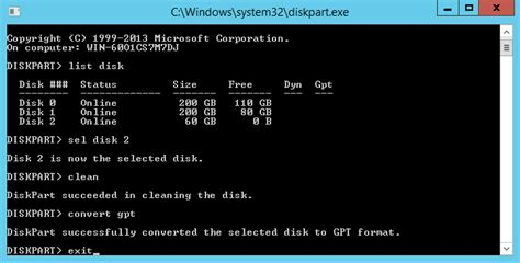 diskpart format gpt to mbr create partition server 2012 partition magic server