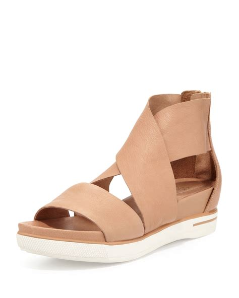 camel sandals sale eileen fisher sport wide leather sandal in beige