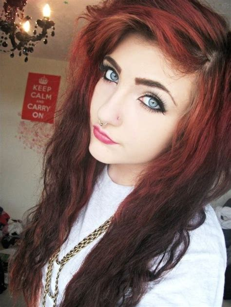 emo hairstyles burgundy 1049 best images about beautiful hair on pinterest