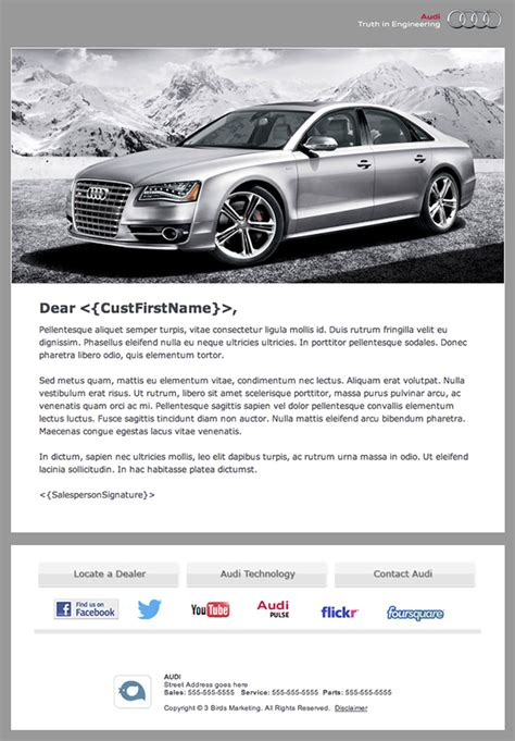 branded email templates audi branded automotive dealership email newsletter on