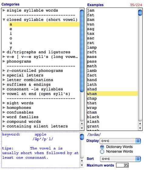 pattern words exles wordspring early decoding exle
