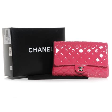 Cccnkkk Pink Chain Leather 100 Authentic chanel patent quilted clutch with chain flap pink 60766