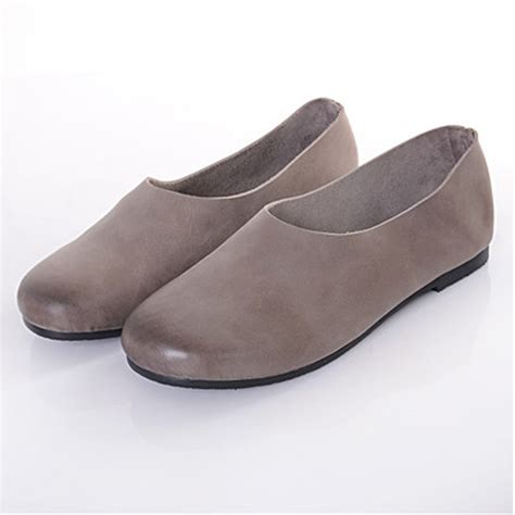 Ready Tb Flat Shoes 4 aliexpress buy genuine leather flat shoes brown green grey slip on loafers