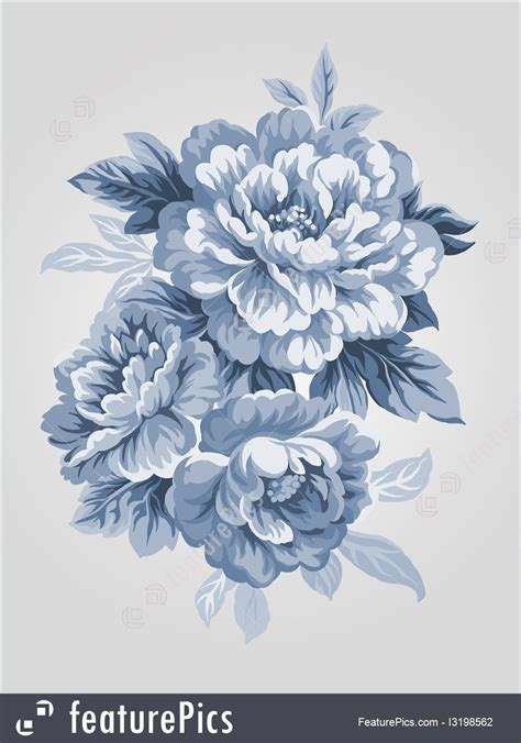 flower background tattoo designs painting china blue peony bouquet simple