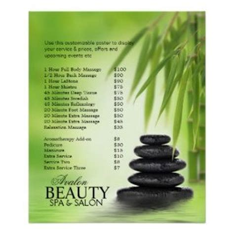 spa massage pricelist poster with stacked stones bamboo