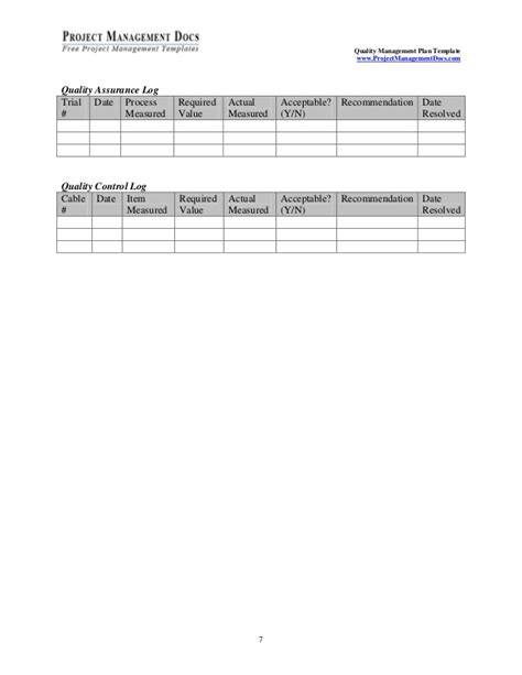 quality log template template quality management plan2