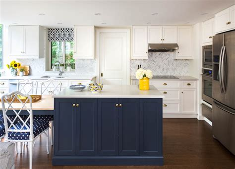 White And Blue Kitchen Cabinets Navy Blue Kitchen Cabinets Eclectic Kitchen Farrow And Hague Blue Emily Henderson