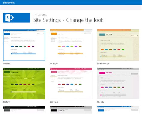 online layout choose a theme for your publishing site sharepoint
