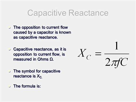 capacitive reactance dc circuit capacitive reactance ppt