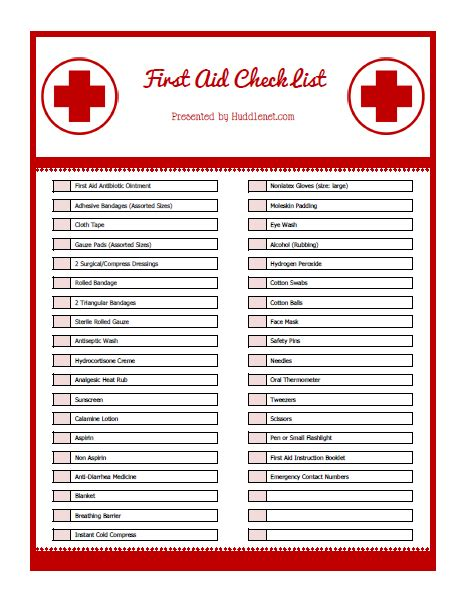 It S Summertime First Aid Kit Supply List Printable Huddlenet Aid Kit Checklist Template