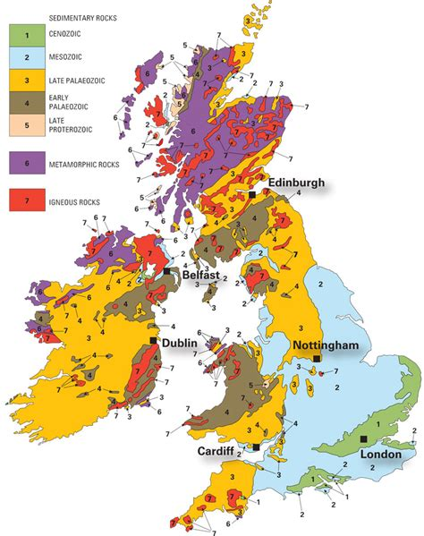 colour in geology map of the uk and ireland