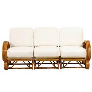 vintage rattan sofa stellar restored vintage curvilinear rattan sofa at 1stdibs