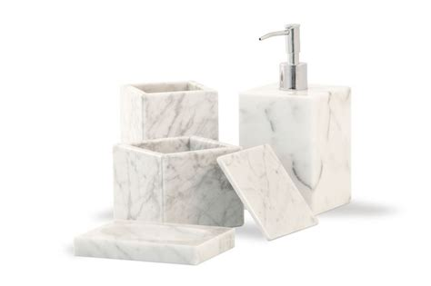 Carrara Marble Bathroom Accessories White Carrara Marble Bathroom Set Soap Dispenser Soap Dish Toothbrush Holder Container