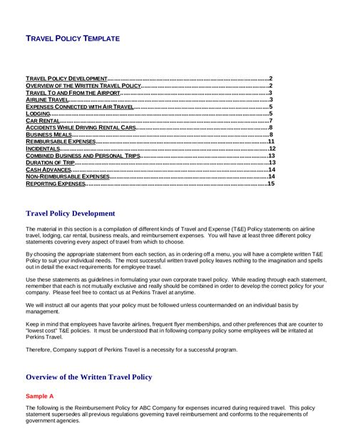 8 Travel And Expense Policy Pdf Free Premium Templates Travel And Expense Policy Template