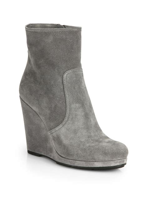 prada suede wedge ankle boots in gray grigio grey lyst