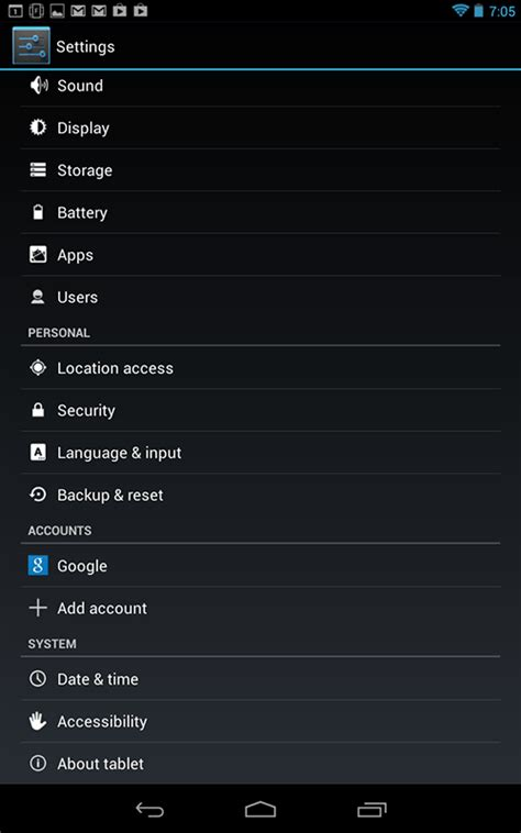 android settings menu developer options not showing on nexus 7 android version 4 2 1 build jpo40d question