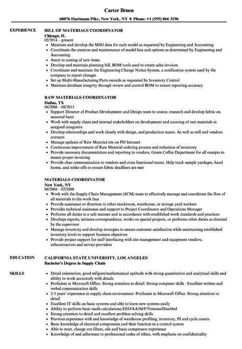 purchasing coordinator resume sle material coordinator resume talktomartyb
