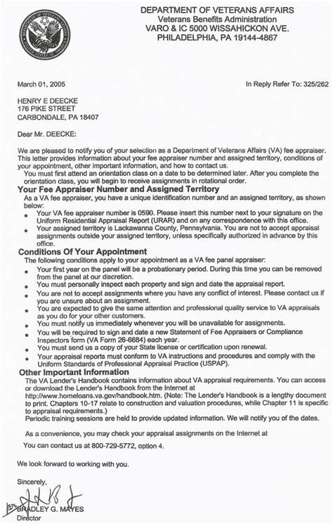 Va Insurance Letter Henry E Deecke Real Estate Appraisals Appraiser Information Va Letter