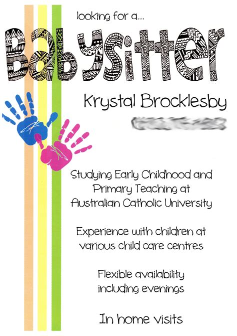 Babysitting Card Template by Creative Babysitting Flyers Babysitting Flyers