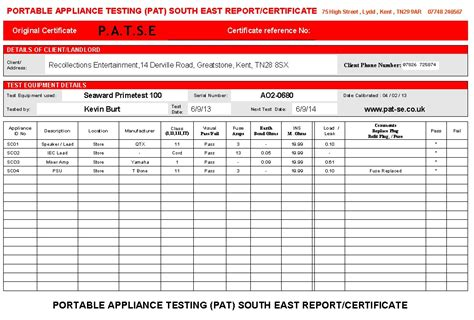 pat testing certificate template pat test certificate pictures