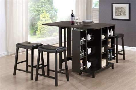 modern dining room design with 5 brown modern pub table set 4 padded saddle seat bar