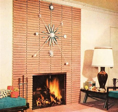 Mid Century Modern Fireplace by Retro Living Room Atomic Starburst Clock On Modern Brick