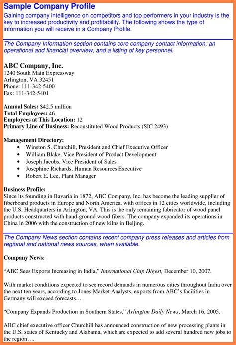 business profile on letterhead 5 sle company profile company letterhead