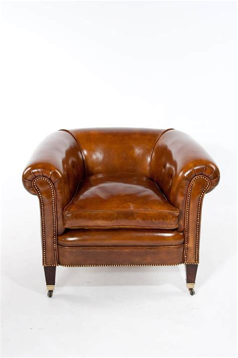 Quality Pair Of Antique Leather Tub Armchairs For Sale At