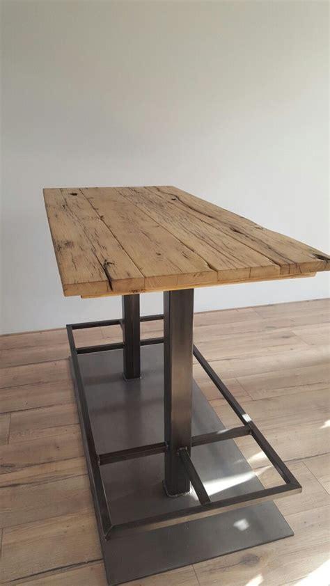 hoge eettafel hout hoge eettafel met een stalen onderstel en eiken wagondelen