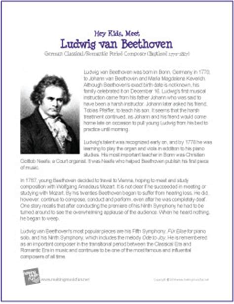 Simple Biography About Beethoven | beethoven biography for kids printable share the knownledge