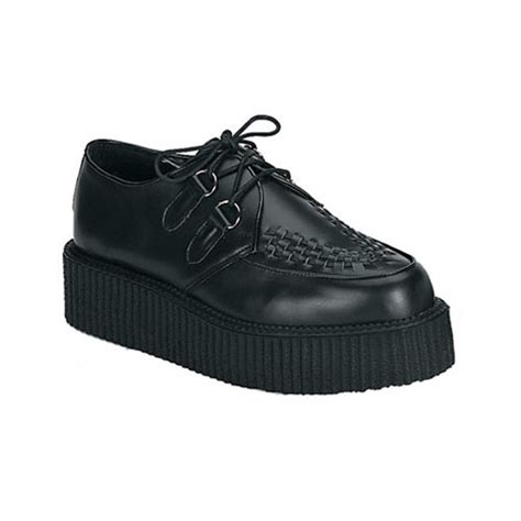 demonia creeper 402 black leather mens creeper shoes