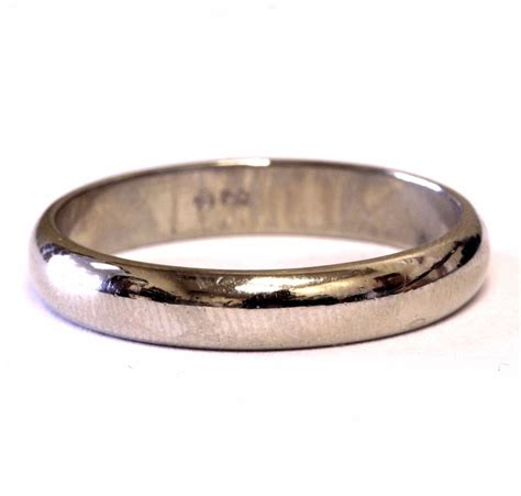14k white gold 4mm mens wedding band ring estate vintage 4