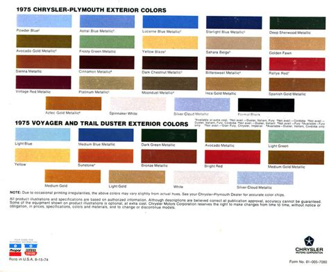 Six Car Garage 1975 duster specs colors facts history and performance