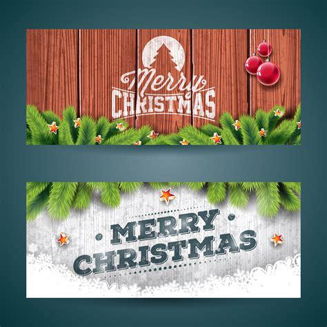 vector merry christmas banner illustration  typography design  pine tree branch