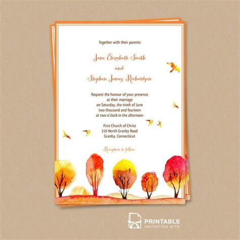 free pdf download watercolor autumn fall scene wedding