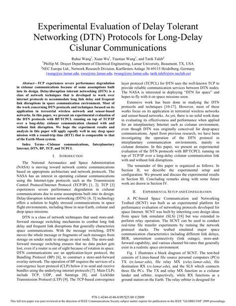 Delay Tolerant Network Research Paper by Experimental Evaluation Of Delay Tolerant Networking Dtn Protocols For Delay Cislunar