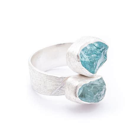 aquamarine and apatite gemstone statement sterling