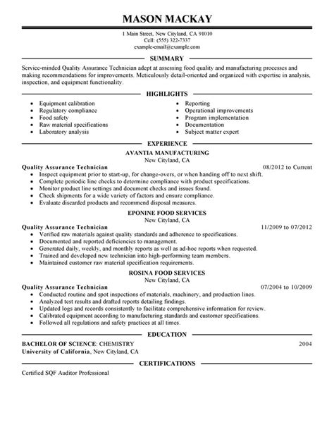 Quality Supervisor Resume by Quality Assurance Resume Exles Wellness Resume Sles Livecareer
