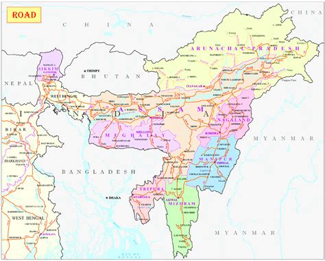 map of northeast road map only nh ministry of development of eastern region east india