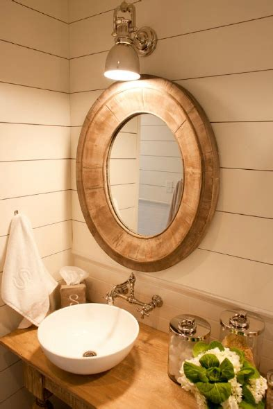 oval wood mirror cottage bathroom munger interiors