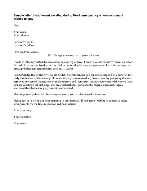 Landlord Ending Tenancy Agreement Letter Template Termination Of Lease Letter Best Business Template